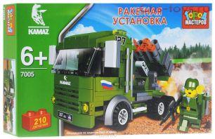 Конструктор KK-7005-R КАМАЗ, ракетная установка с фигуркой, в коробке Город Мастеров